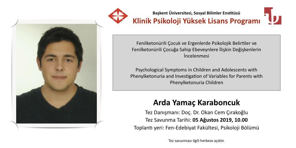Fenilketonürili Çocuk ve Ergenlerde Psikolojik Belirtiler ve Fenilketonürili Çocuğa Sahip Ebeveynlere İlişkin Değişkenlerin İncelenmesi (Tez Savunması)
